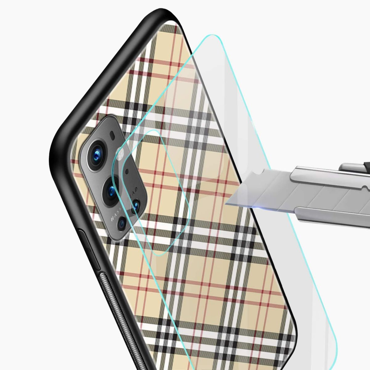 cross line pattern glass view oneplus 9 pro back cover