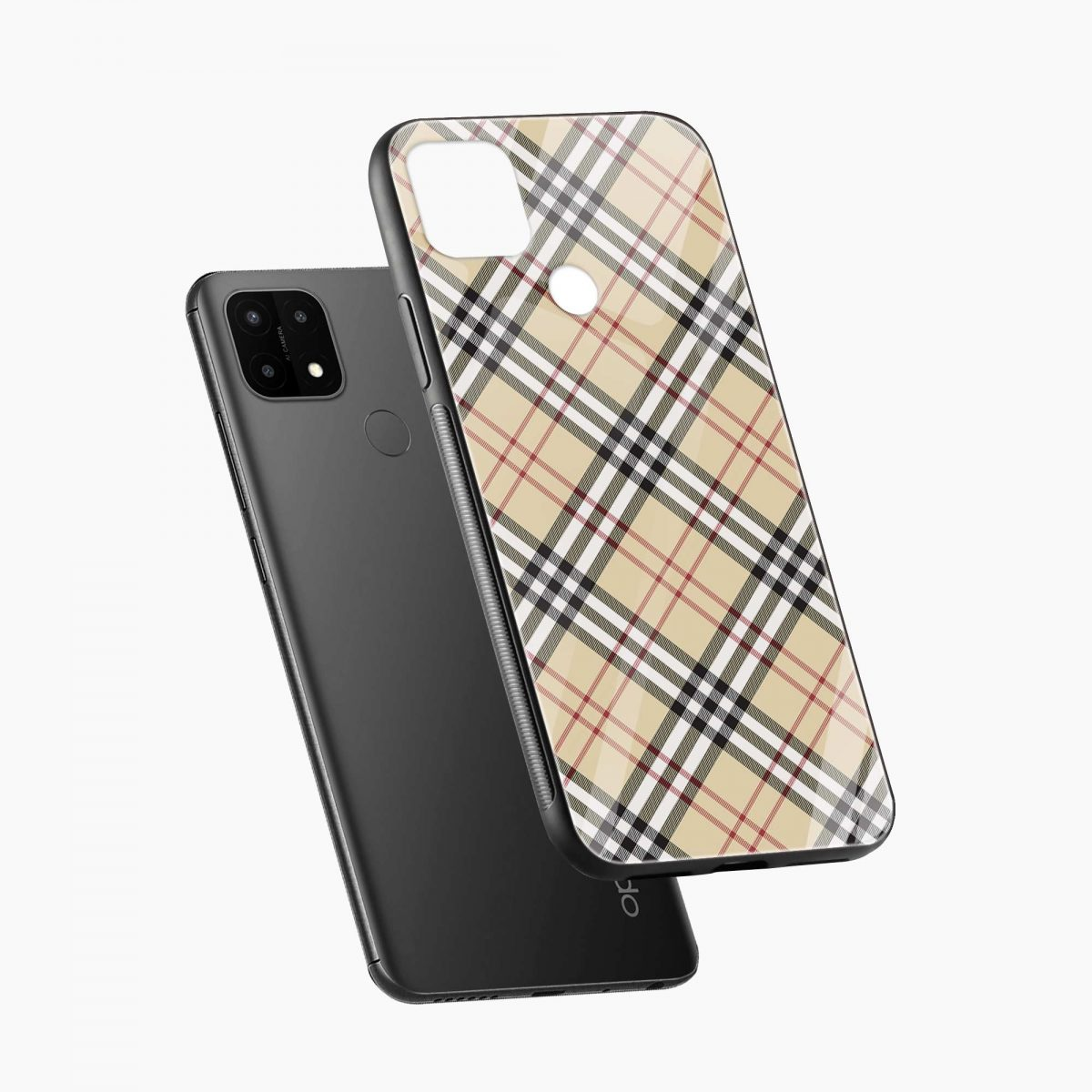 cross line pattern diagonal view oppo a15 back cover