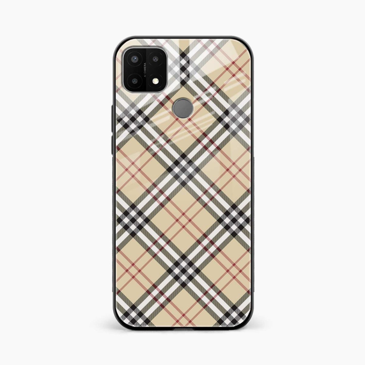 cross line pattern front view oppo a15 back cover