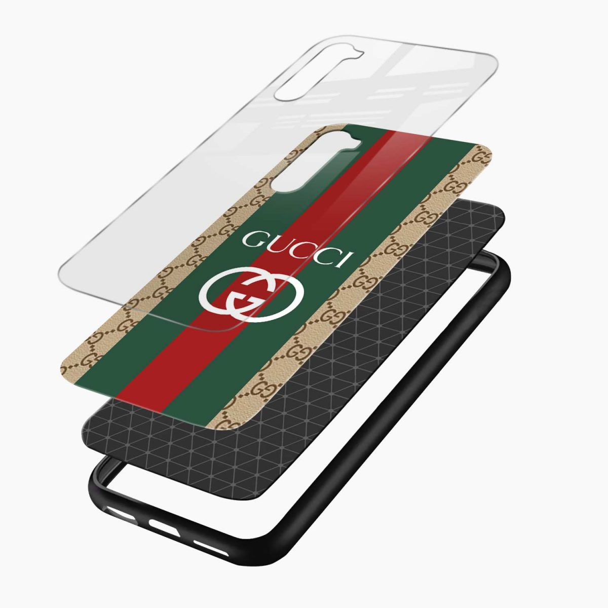 gucci strips pattern layers view oneplus nord back cover