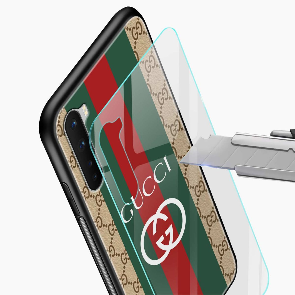 gucci strips pattern glass view oneplus nord back cover