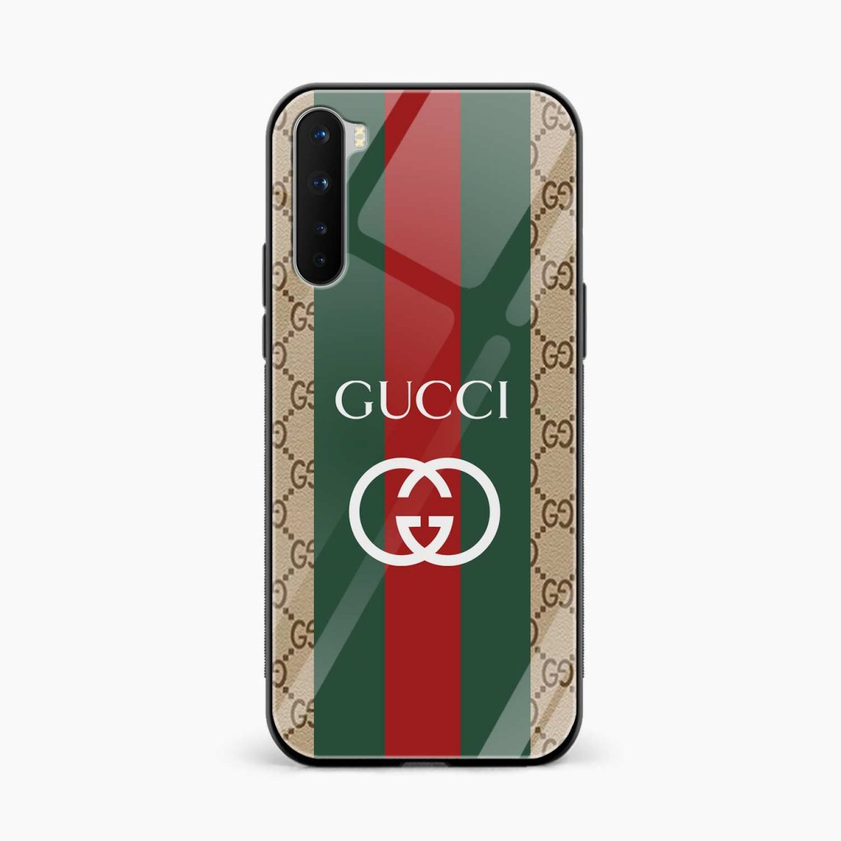 gucci strips pattern front view oneplus nord back cover