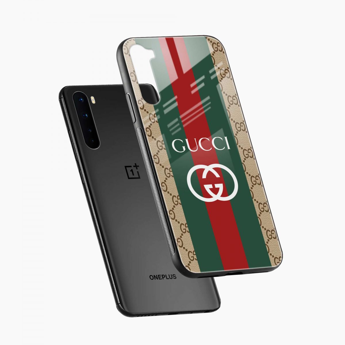 gucci strips pattern diagonal view oneplus nord back cover