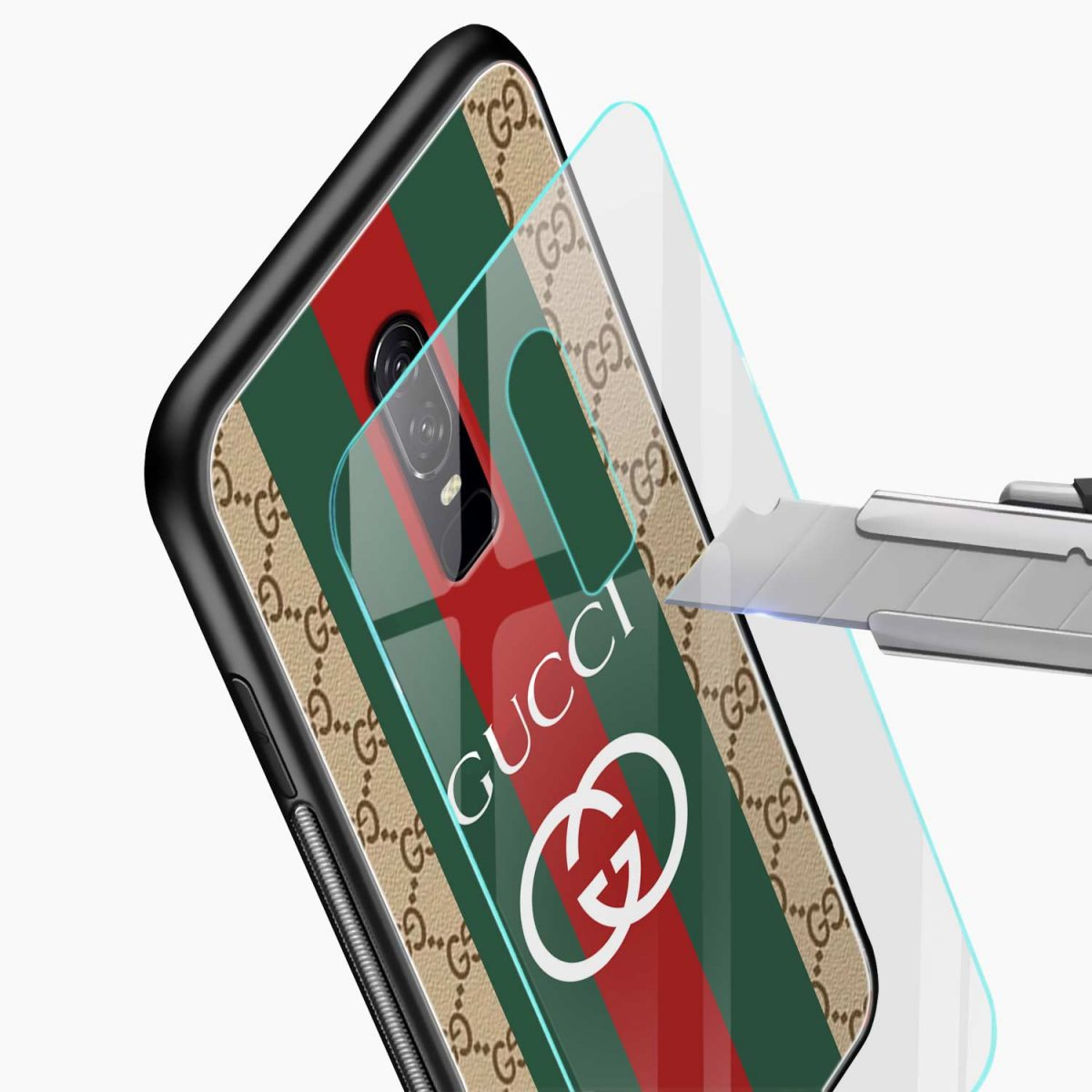 gucci strips pattern glass view oneplus 6 back cover