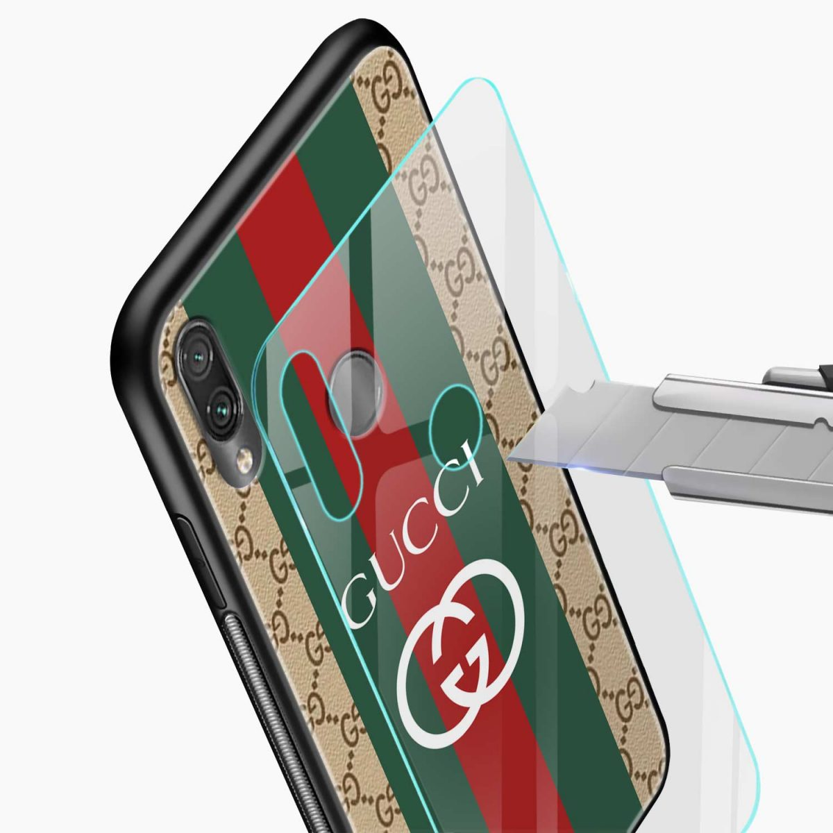 gucci strips pattern glass view redmi note7 back cover