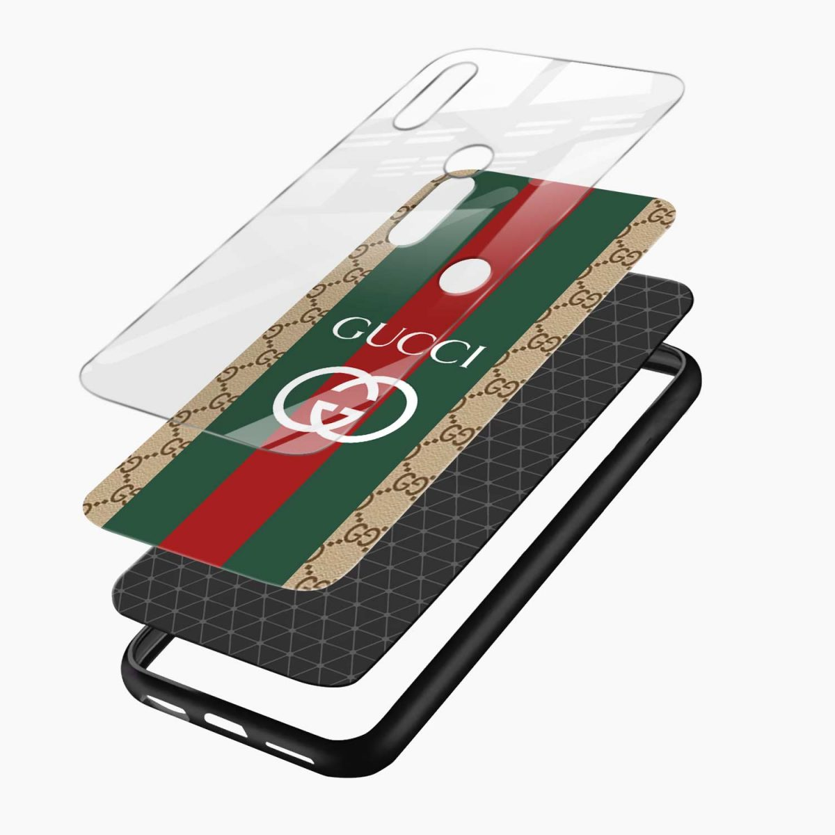 gucci strips pattern layers view redmi note7 back cover