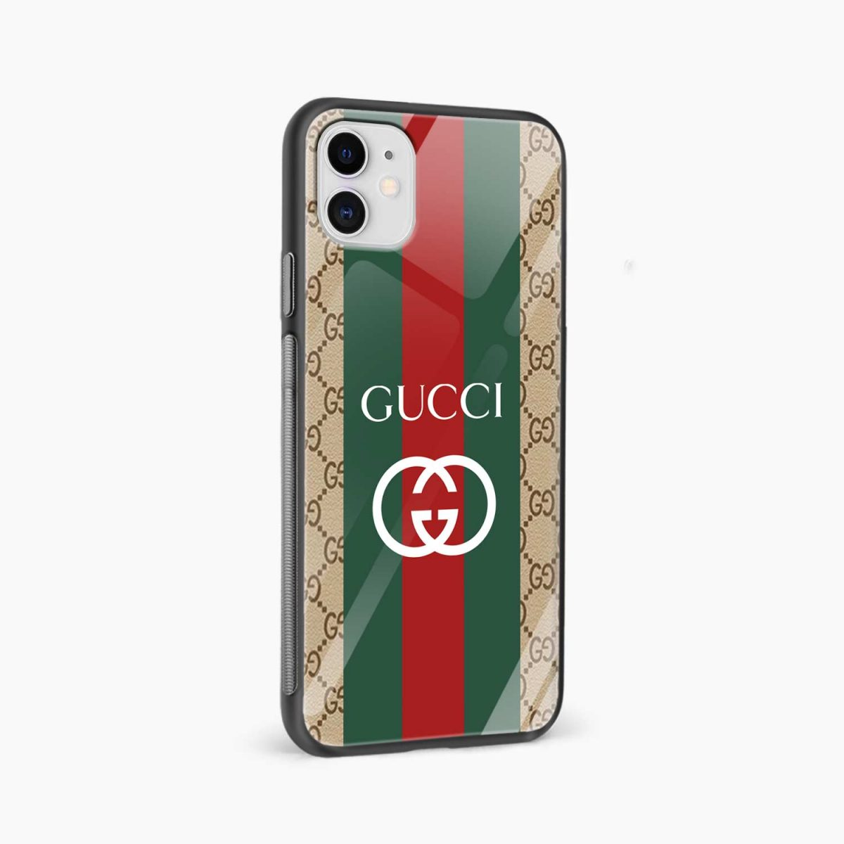 gucci strips pattern iphone back cover side view