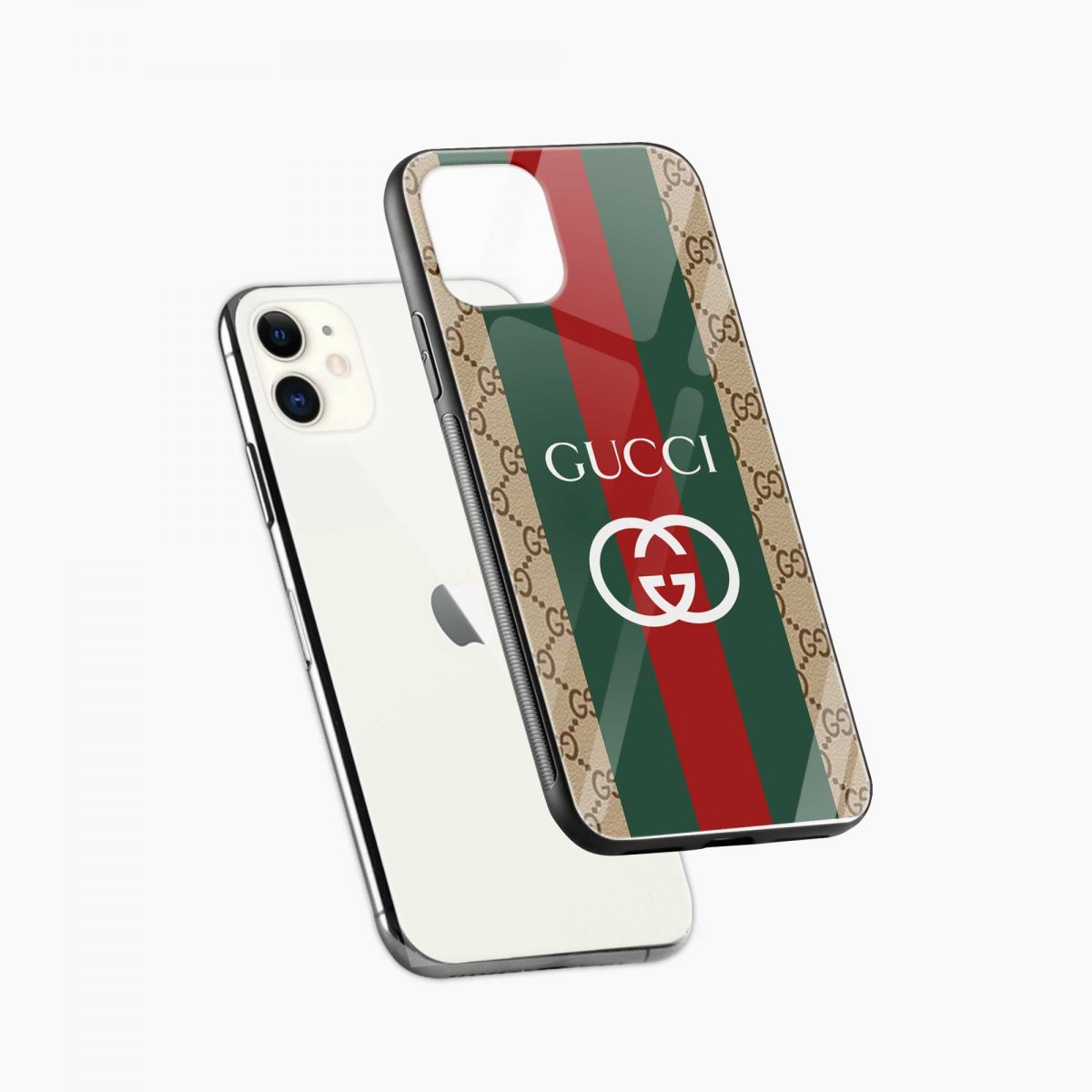 gucci strips pattern iphone back cover diagonal view
