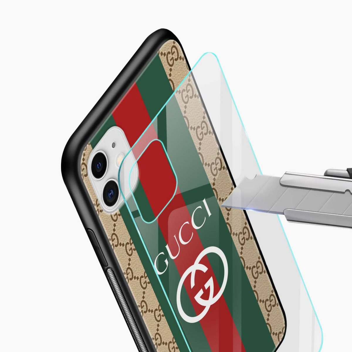 gucci strips pattern iphone back cover glass view