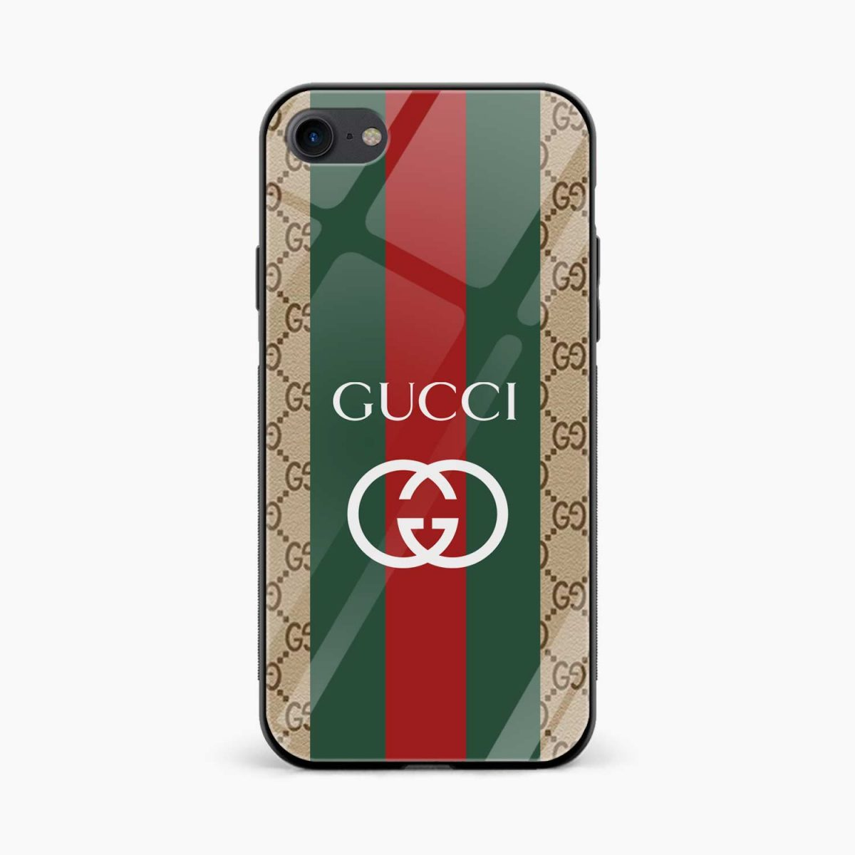 gucci strips pattern front view apple iphone 6 7 8 se back cover