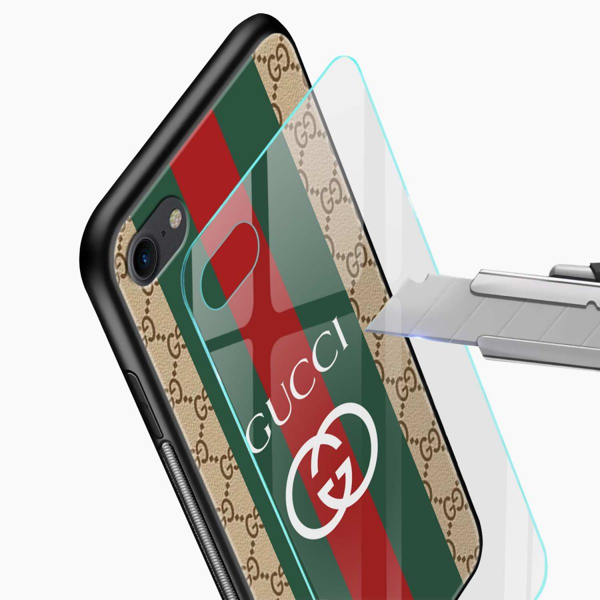 gucci strips pattern glass view apple iphone 6 7 8 se back cover