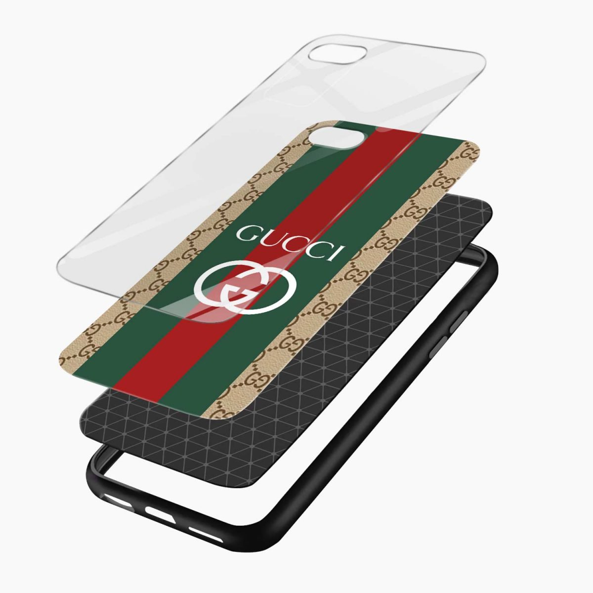 gucci strips pattern layers view apple iphone 6 7 8 se back cover