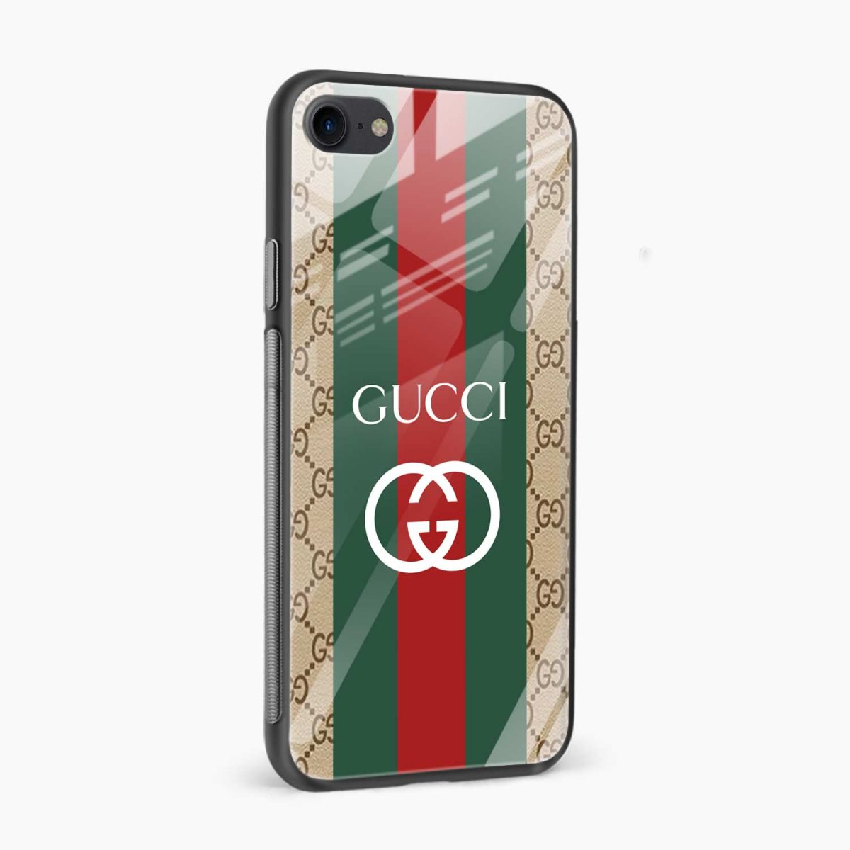 gucci strips pattern side view apple iphone 6 7 8 se back cover