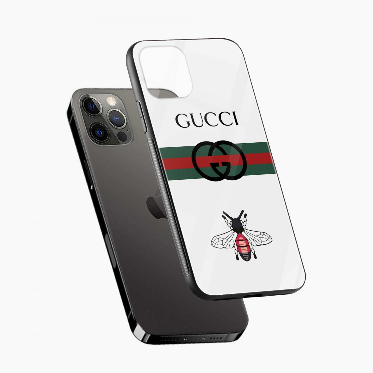 white gucci strips iphone pro back cover diagonal view