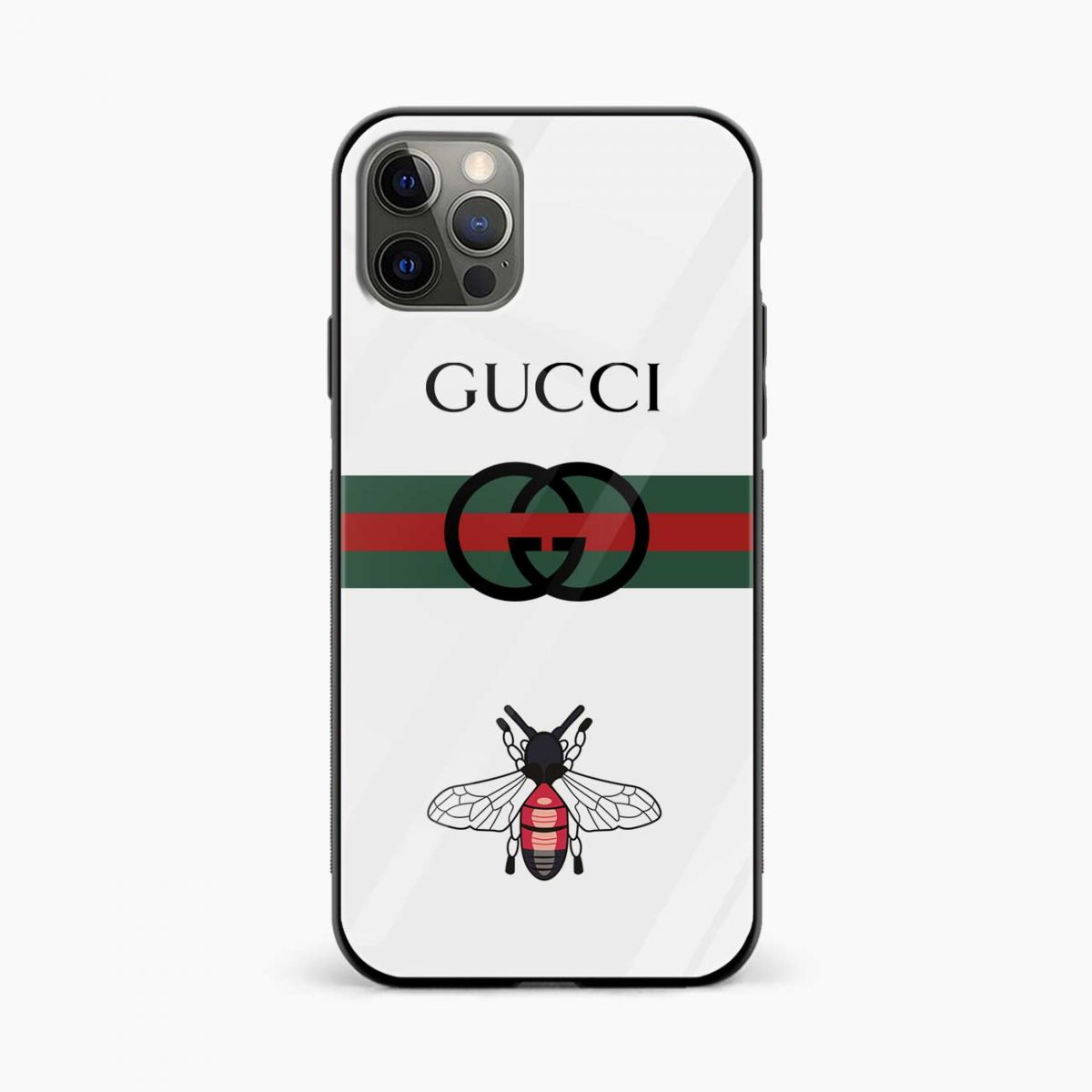 white gucci strips iphone pro back cover front view
