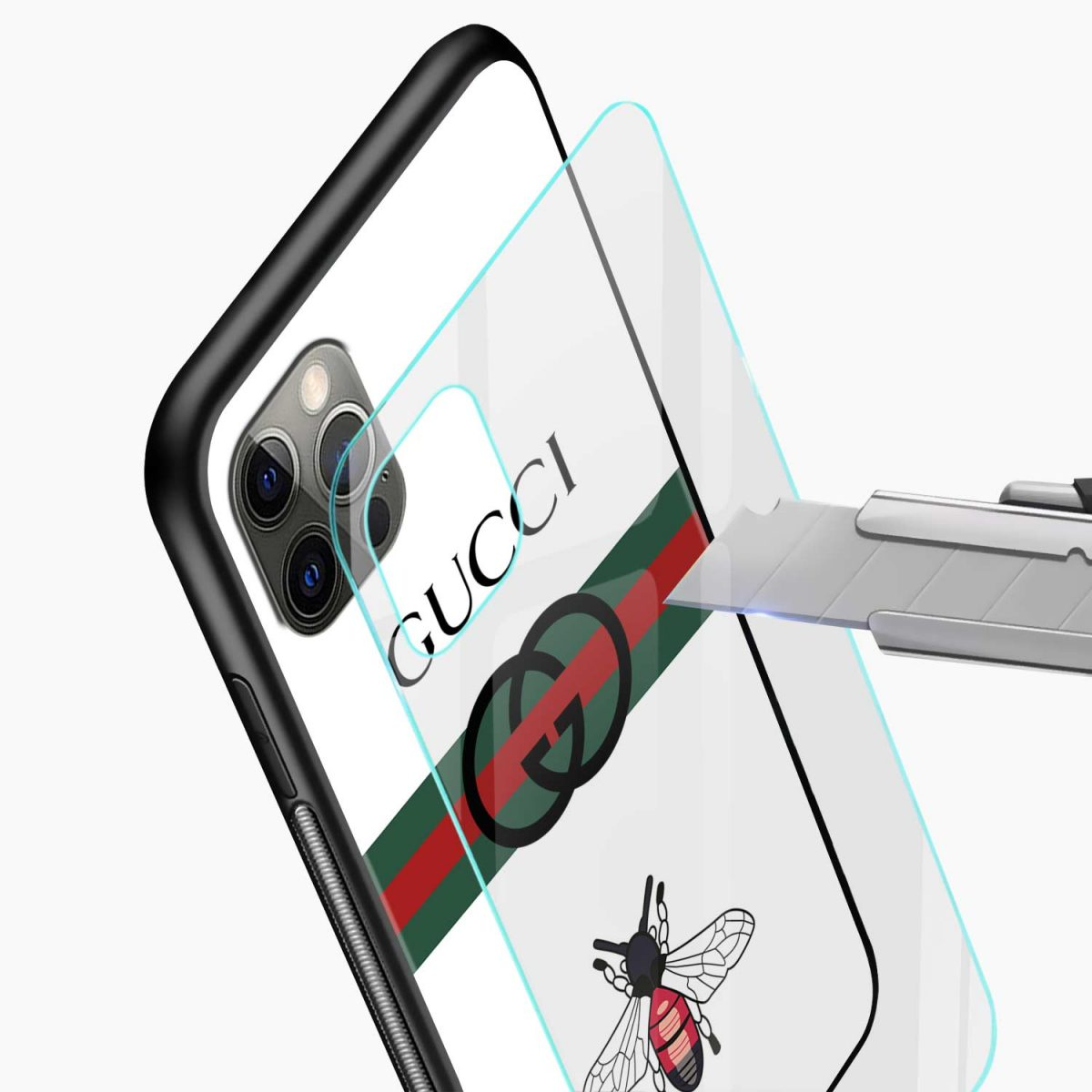 white gucci strips iphone pro back cover glass view