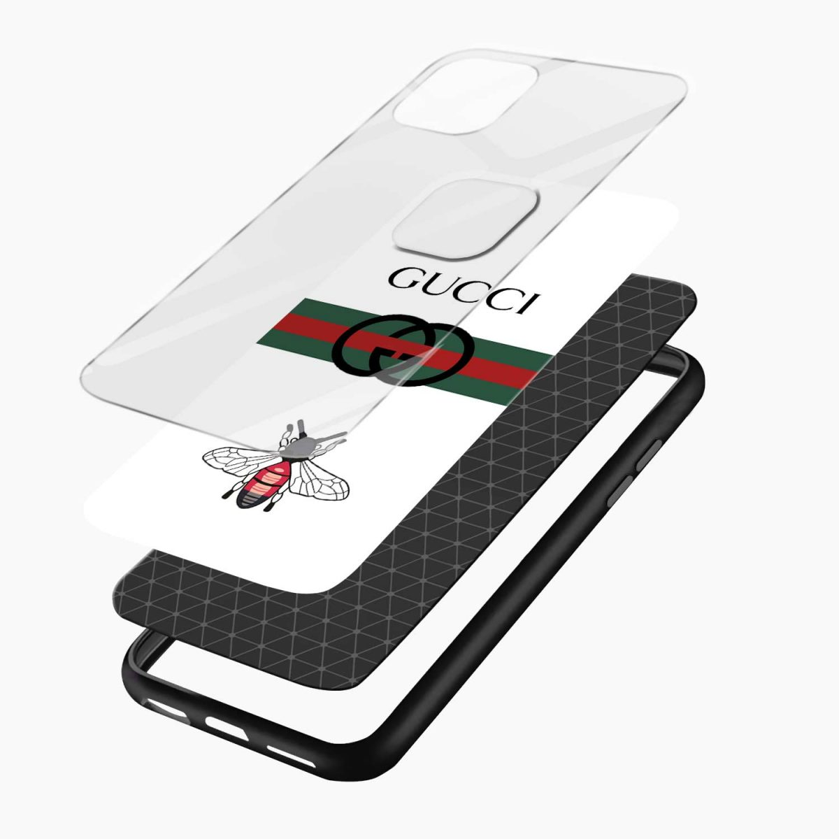 white gucci strips iphone pro back cover layers view