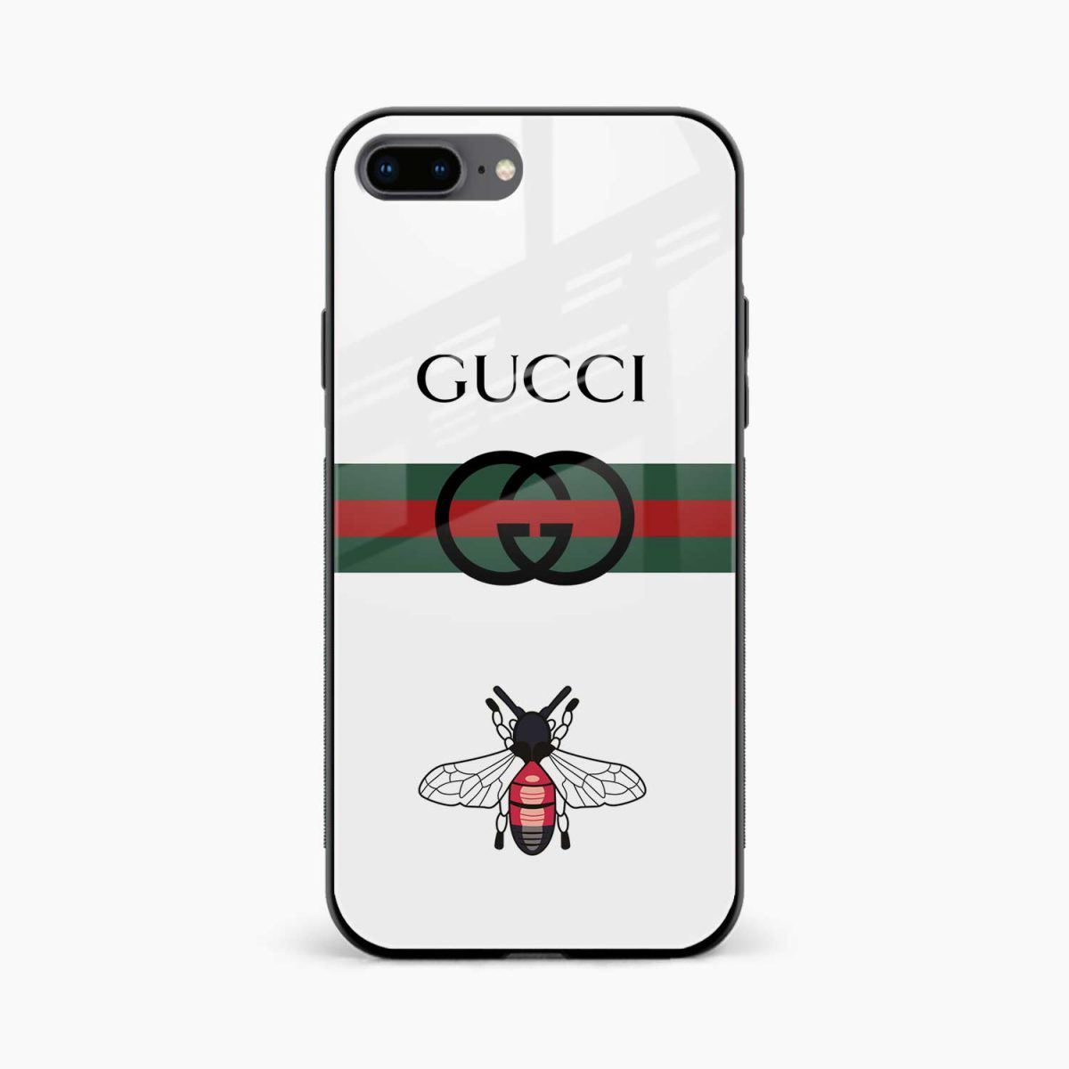 white gucci strips front view apple iphone 7 8 plus back cover