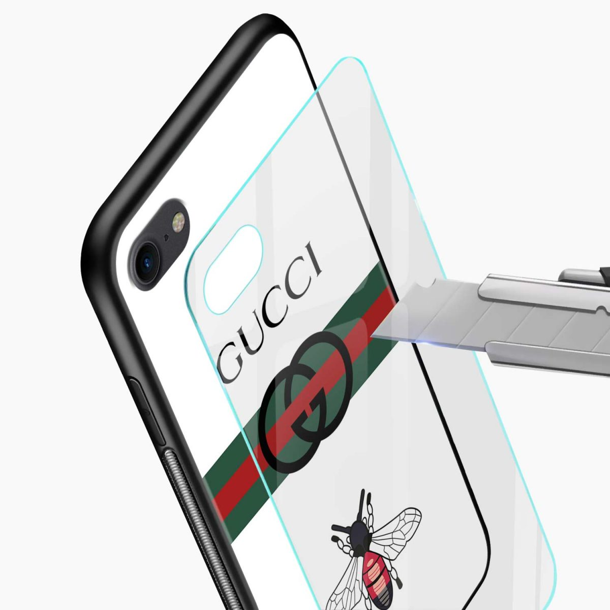 white gucci strips glass view apple iphone 6 7 8 se back cover
