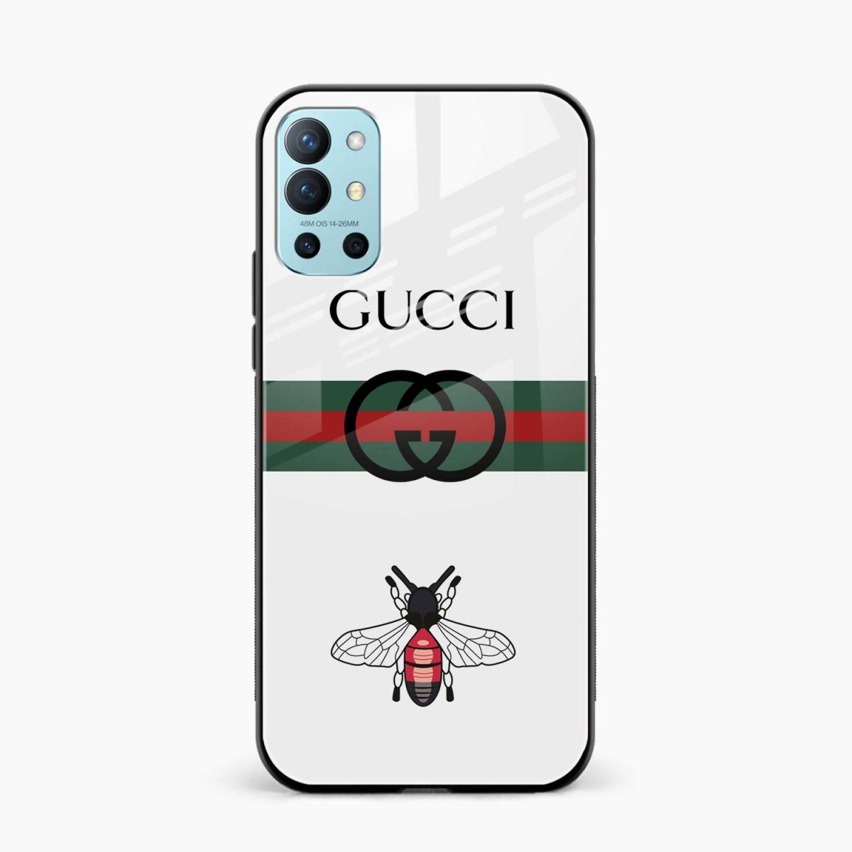 white gucci strips front view oneplus 9r back cover