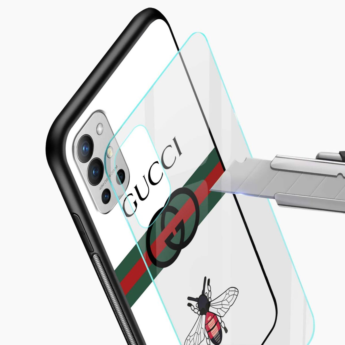 white gucci strips glass view oneplus 9r back cover