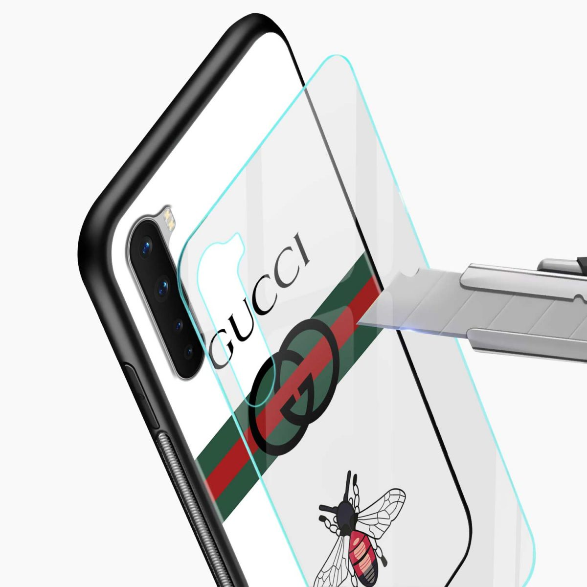 white gucci strips glass view oneplus nord back cover