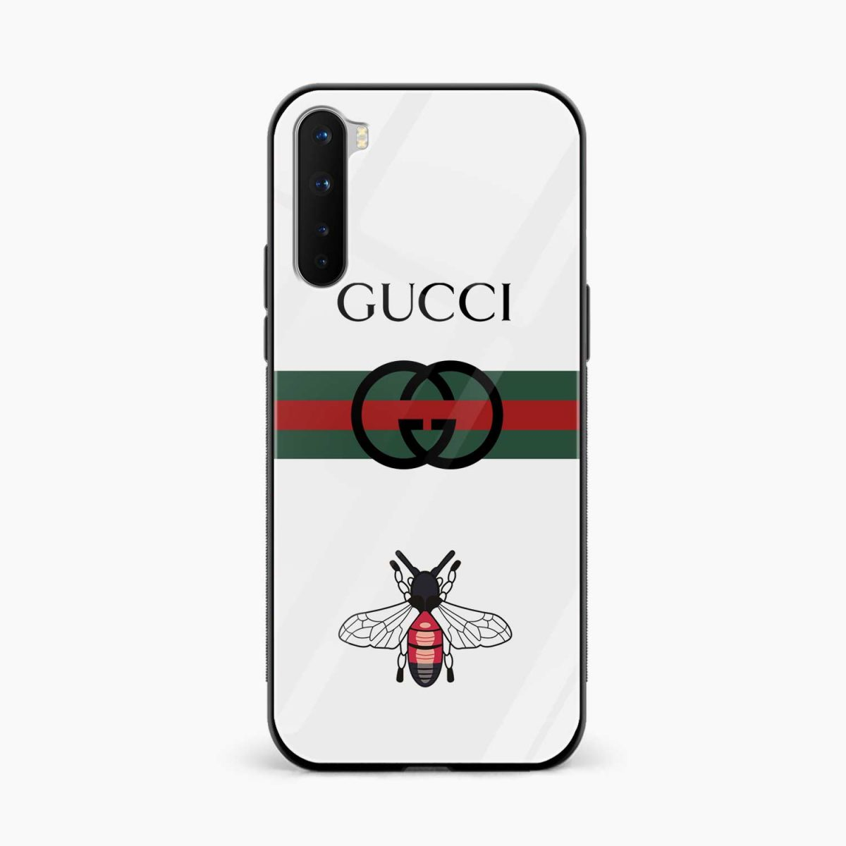 white gucci strips front view oneplus nord back cover