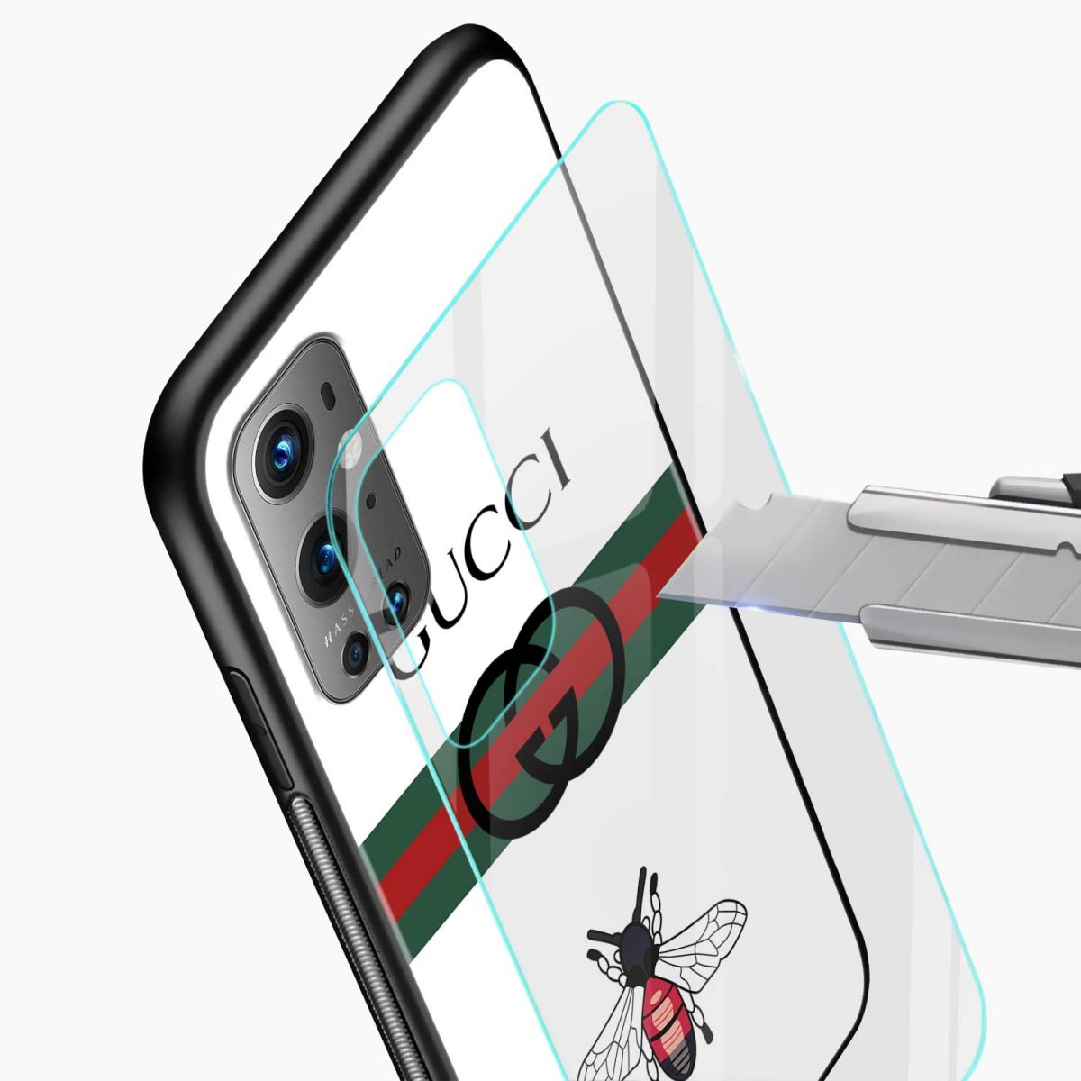 white gucci strips glass view oneplus 9 pro back cover