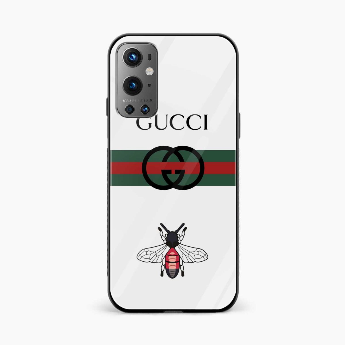 white gucci strips front view oneplus 9 pro back cover