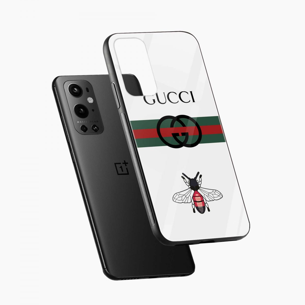 white gucci strips diagonal view oneplus 9 pro back cover