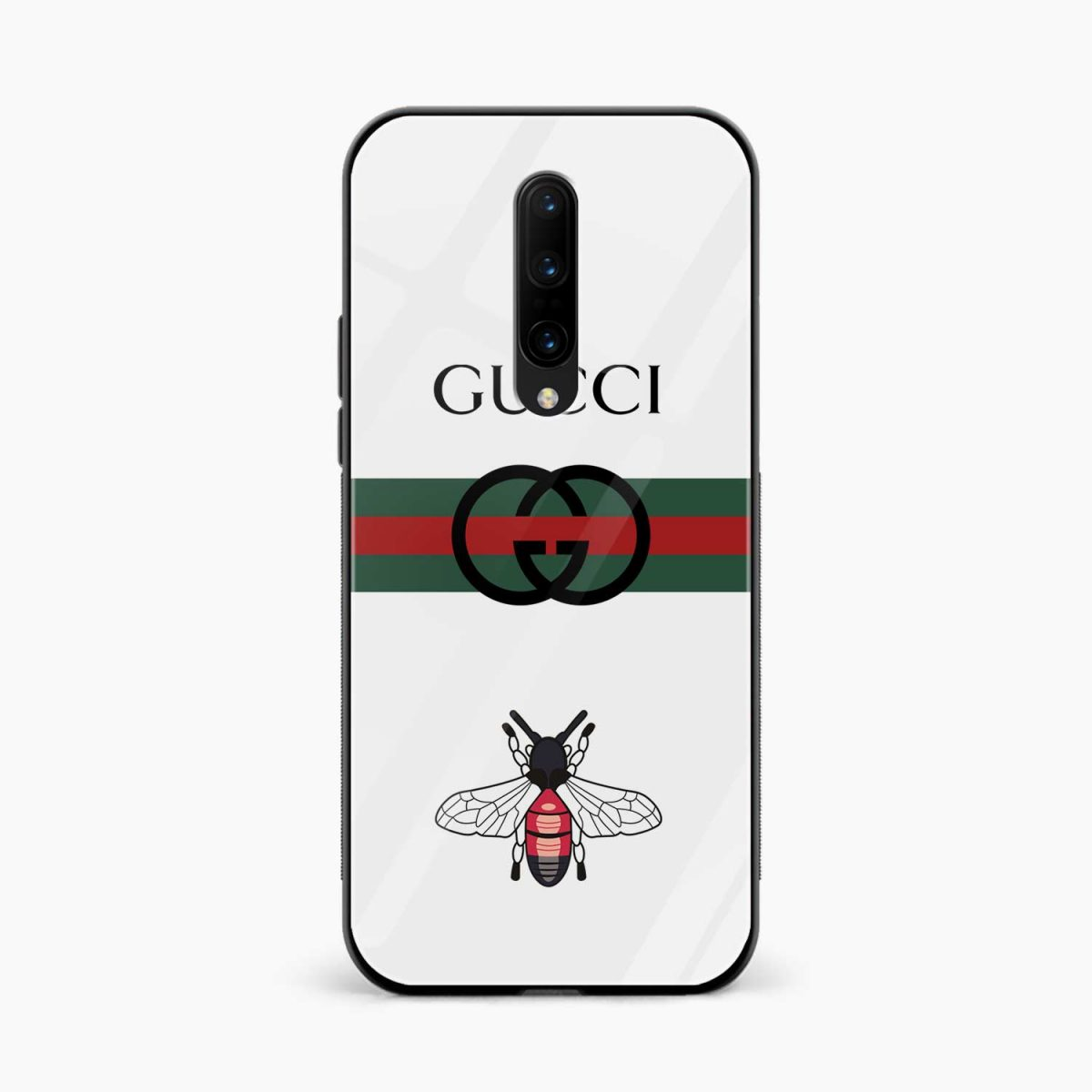 white gucci strips front view oneplus 7 pro back cover