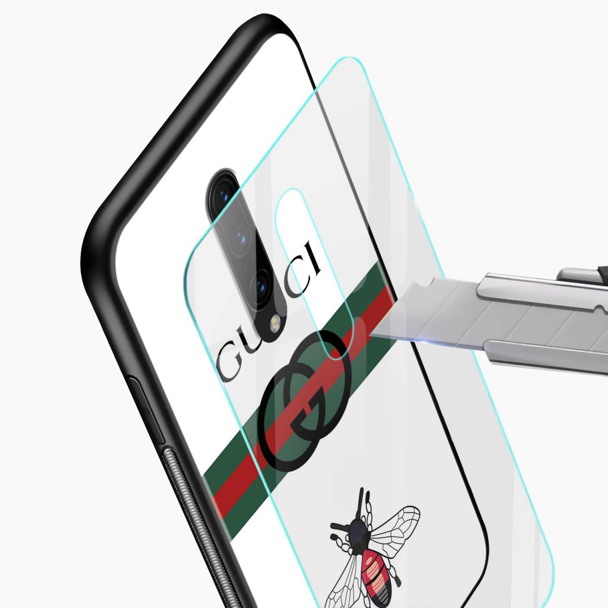white gucci strips glass view oneplus 7 pro back cover