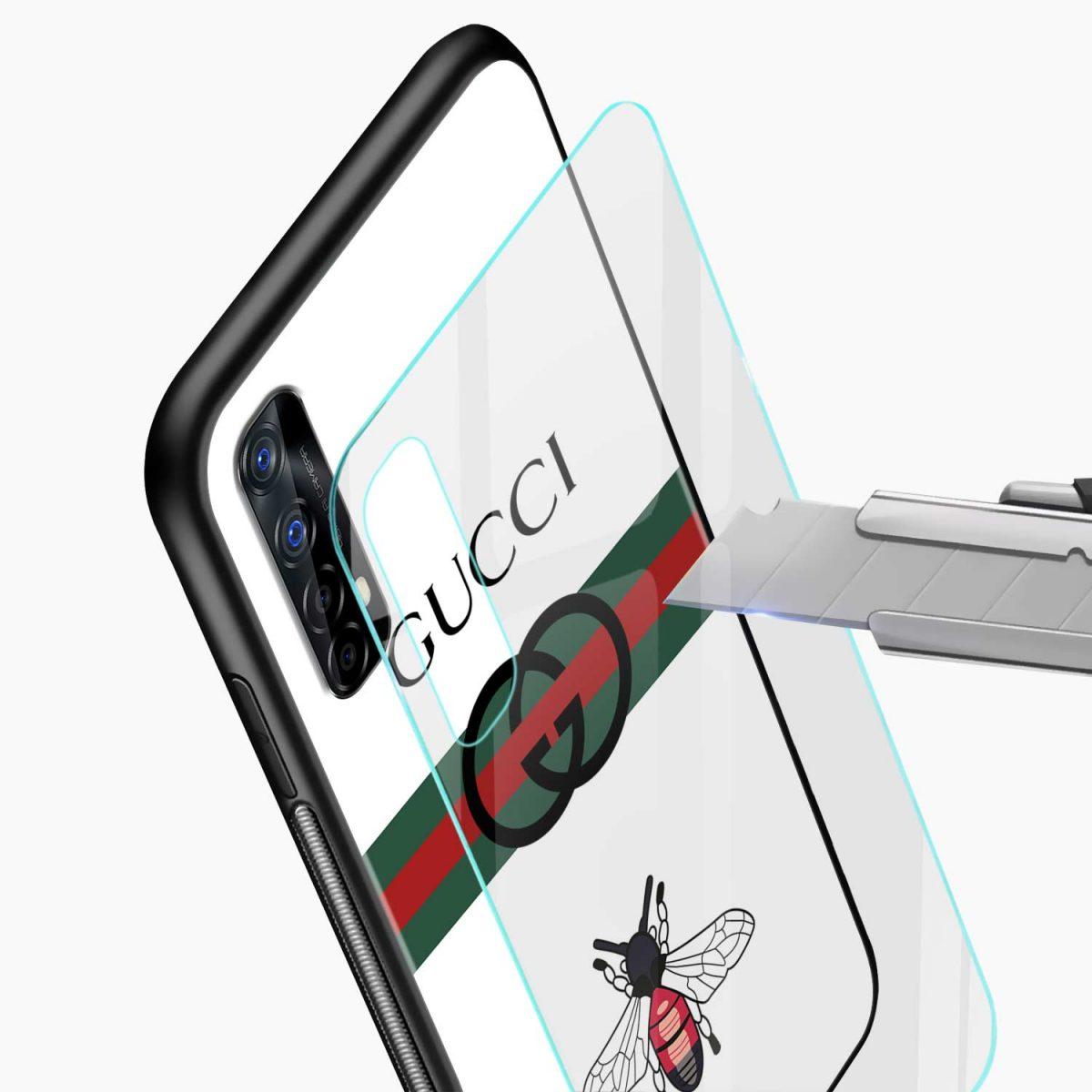 white gucci strips glass view realme 7 back cover