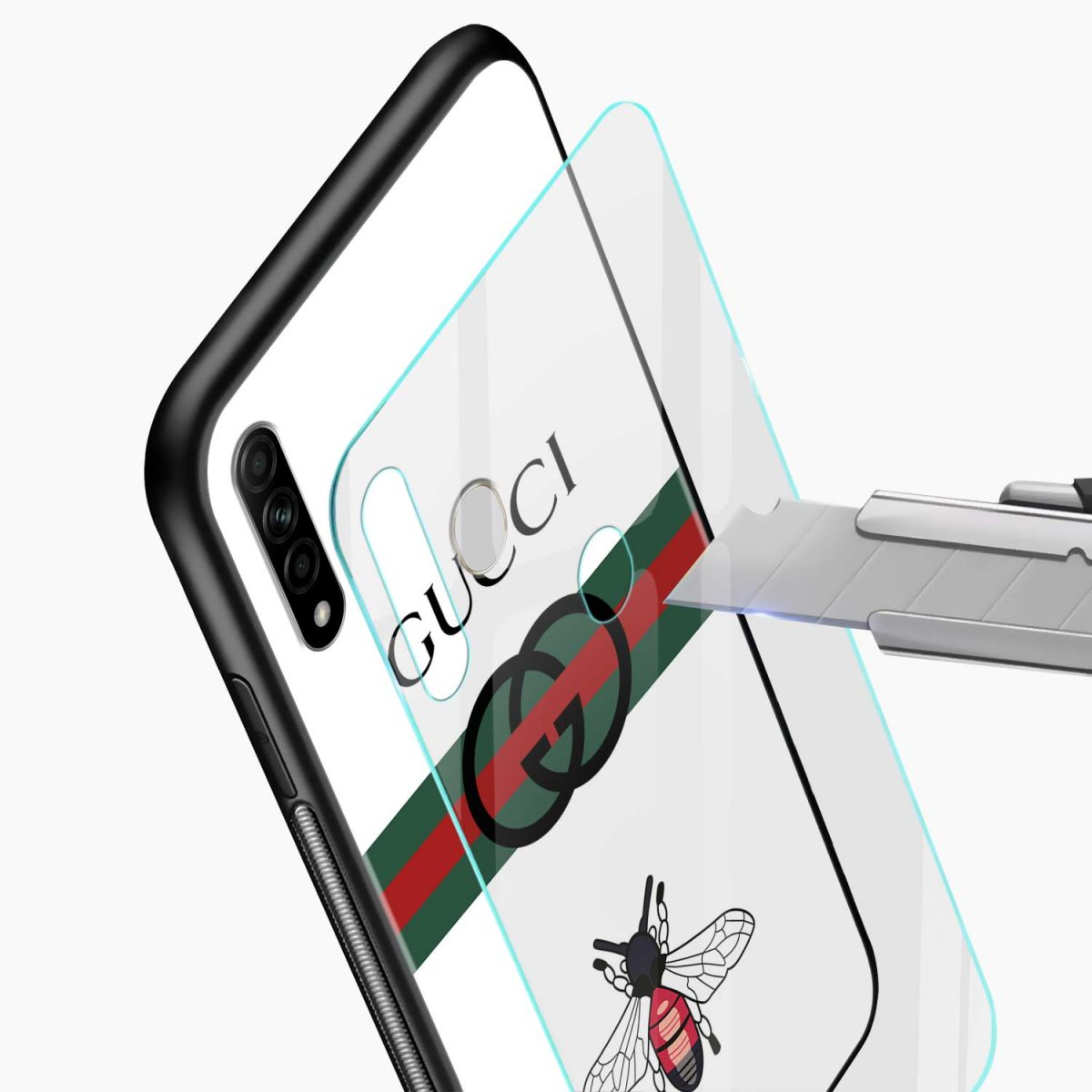 white gucci strips glass view oppo a31 back cover
