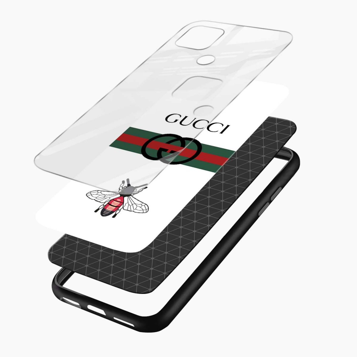 white gucci strips layers view oppo a15 back cover