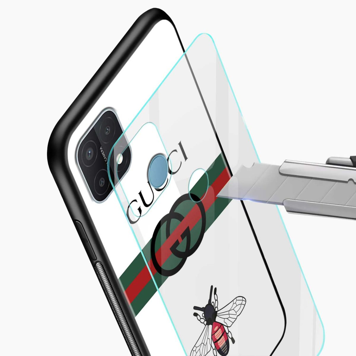 white gucci strips glass view oppo a15 back cover