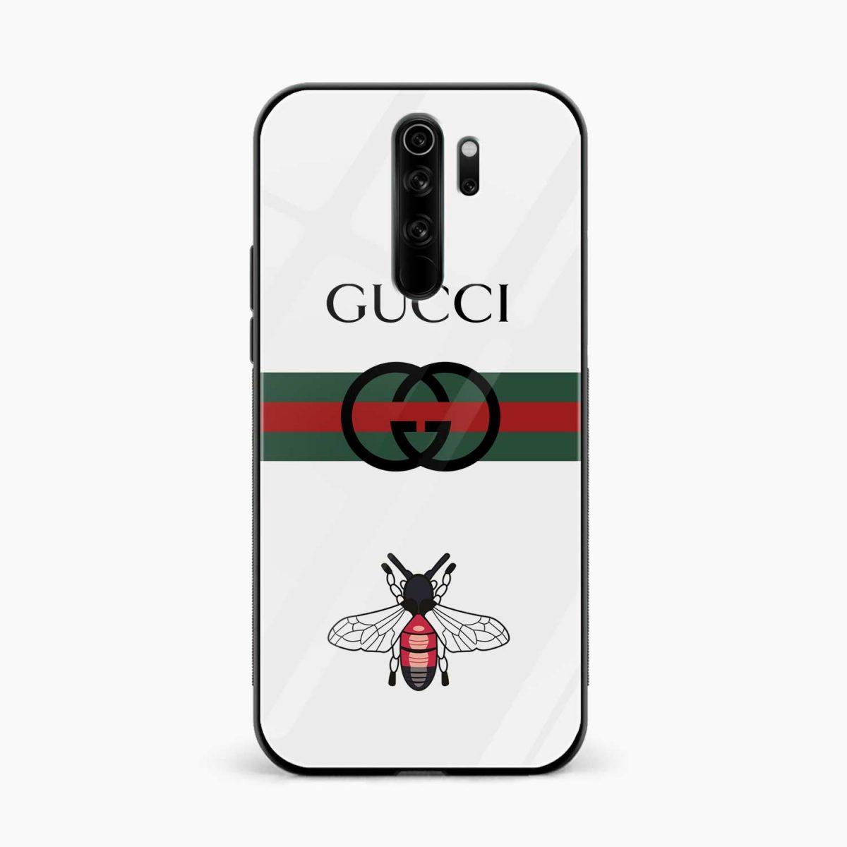 white gucci strips redmi note 8 pro back cover front view 1