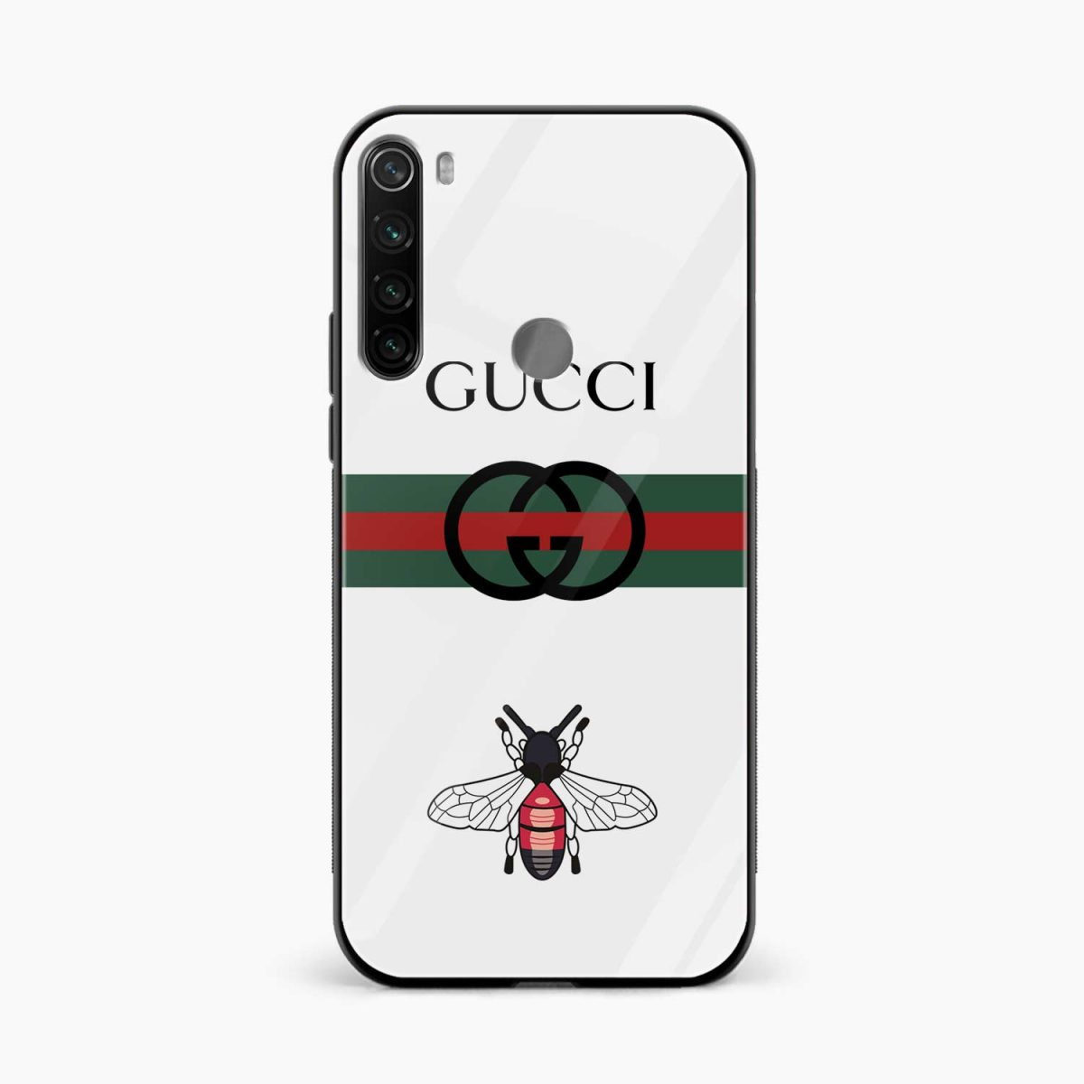 white gucci strips front view redmi note 8 back cover