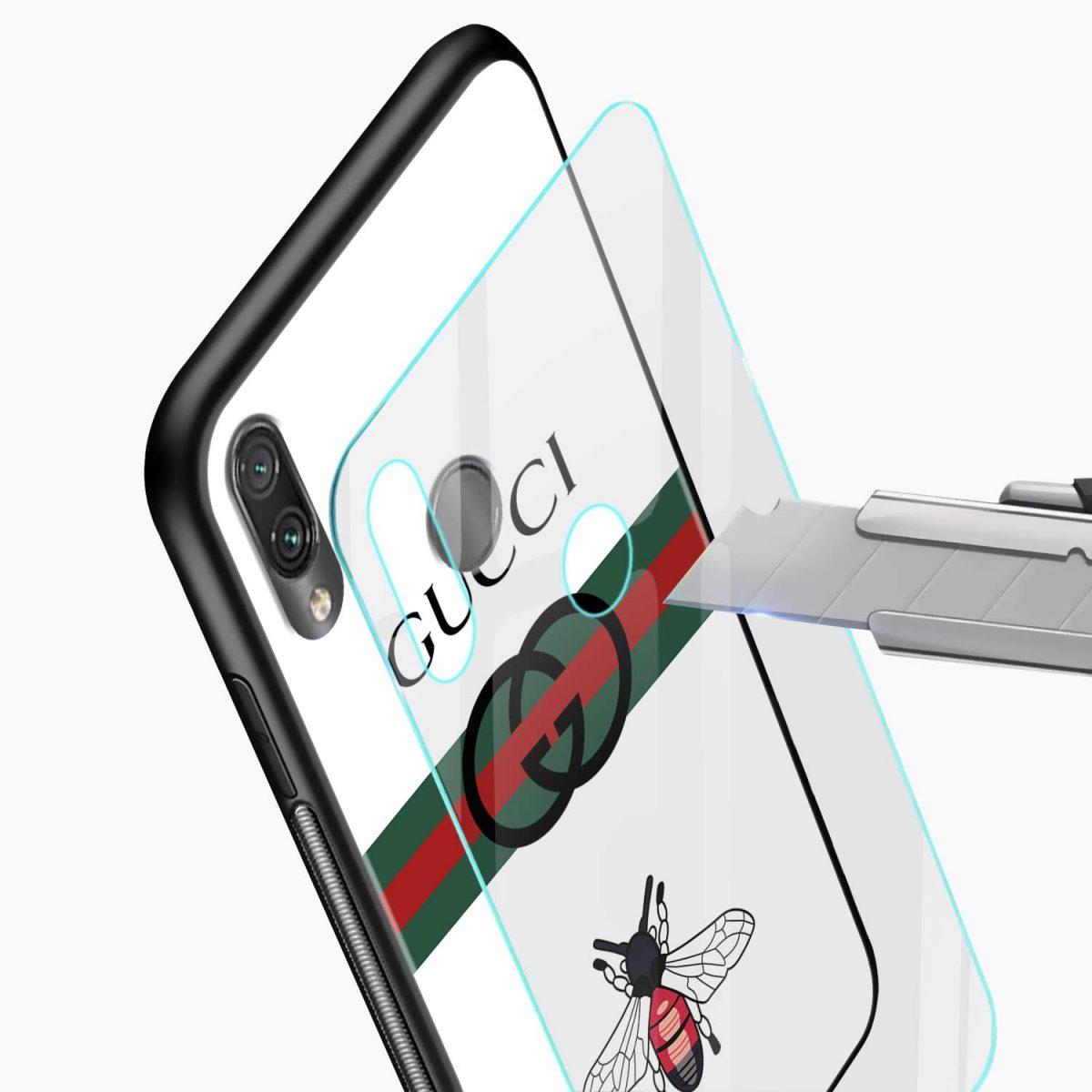white gucci strips glass view redmi note7 back cover