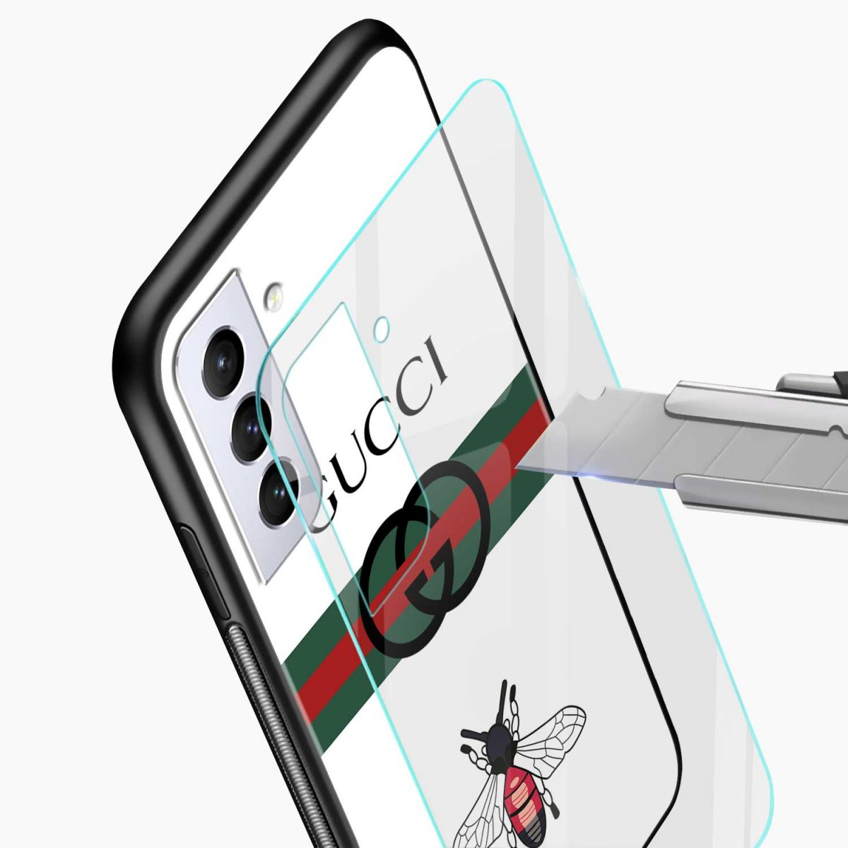 white gucci strips glass view samsung s21 plug back cover