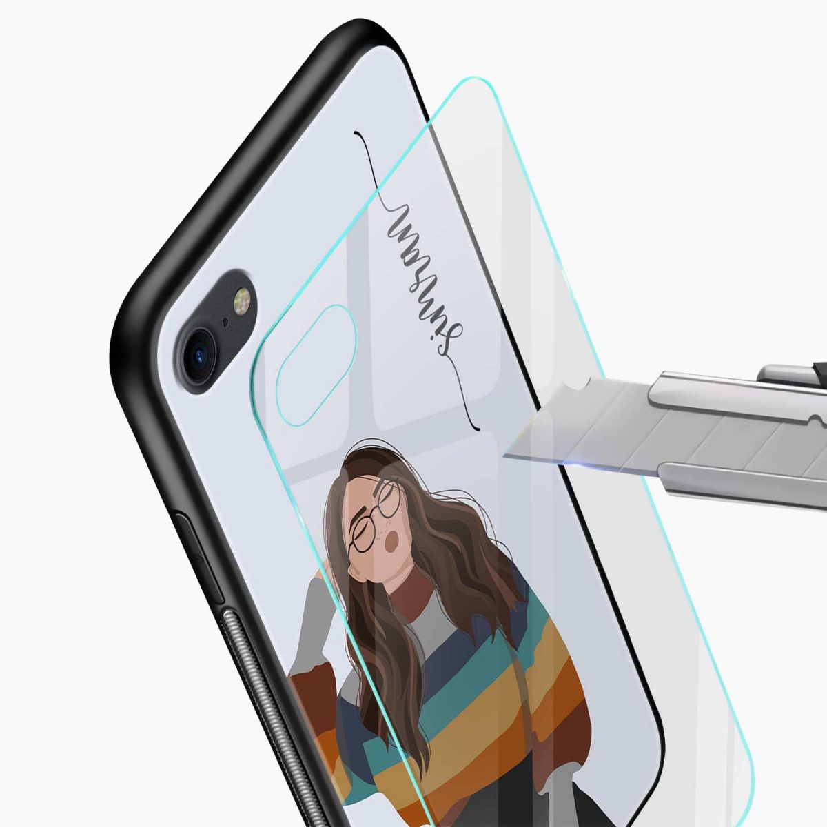 its me glass view apple iphone 6 7 8 se back cover