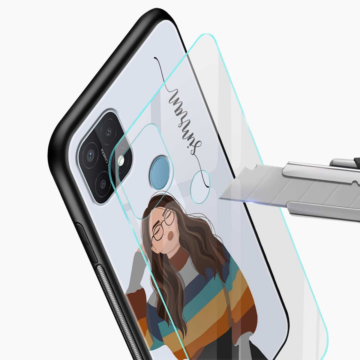 its me glass view oppo a15 back cover