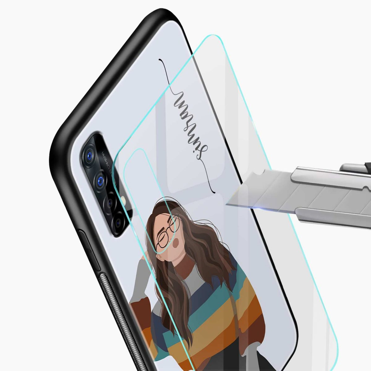 its me glass view realme 7 back cover