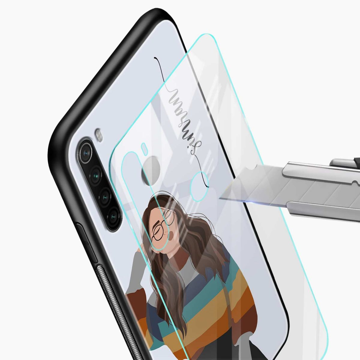 its me glass view redmi note 8 back cover