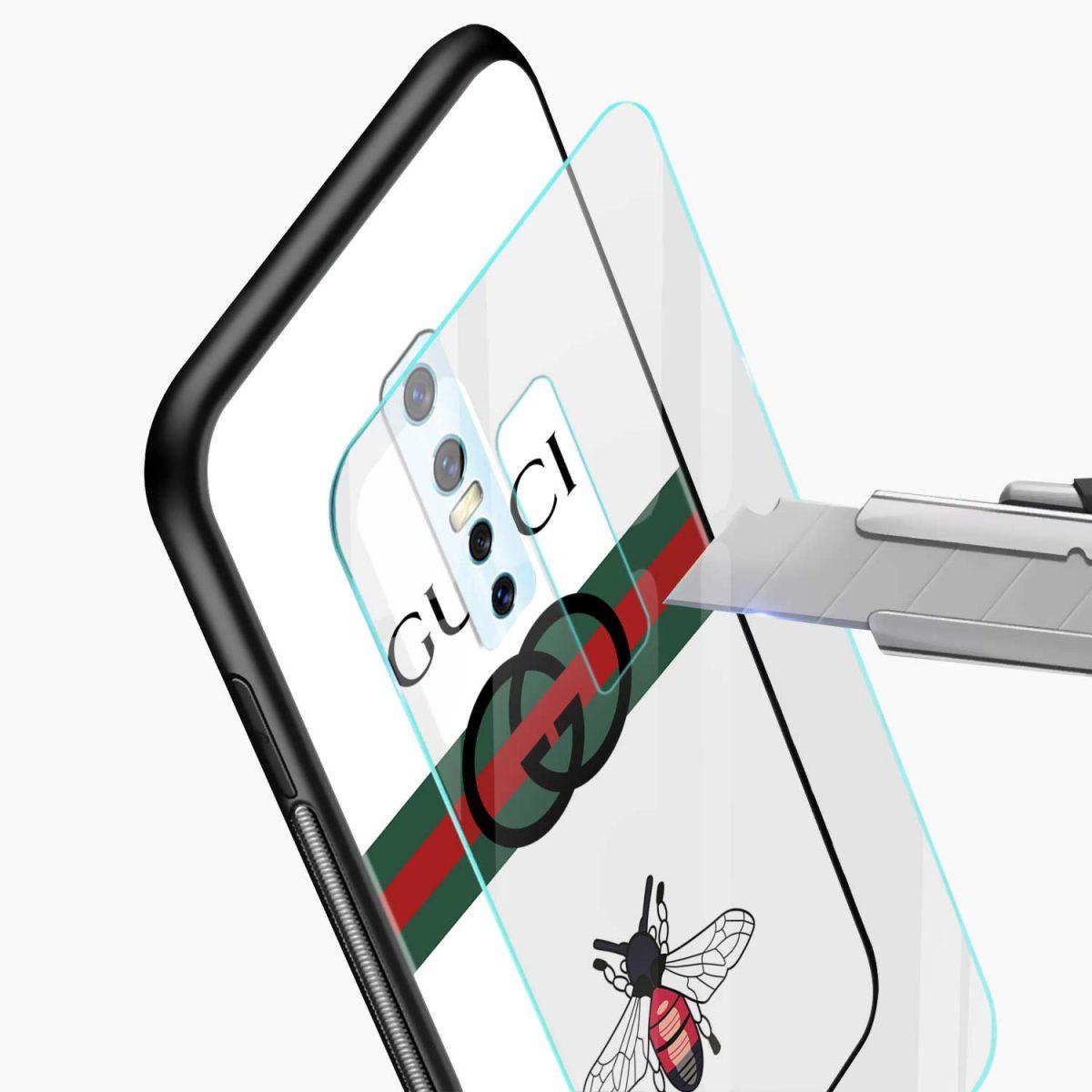 white gucci strips glass view vivo v17 plug back cover
