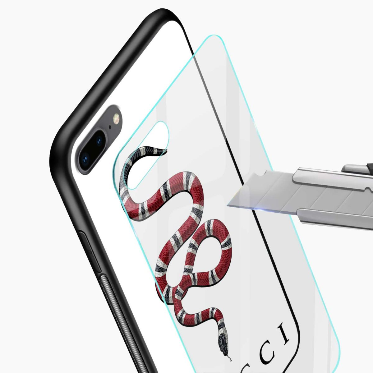 white gucci snake glass view apple iphone 7 8 plus back cover