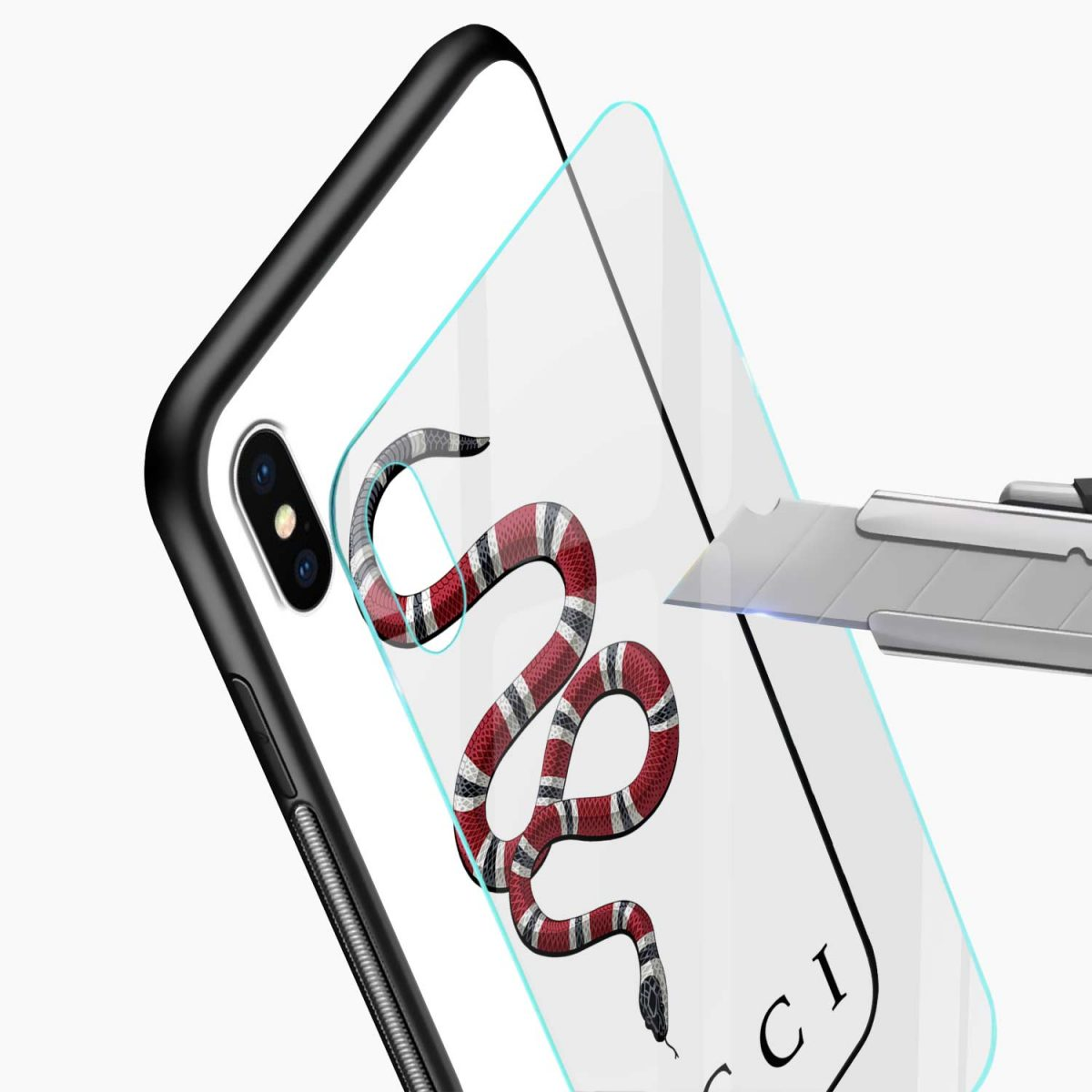 white gucci snake glass view apple iphone x xs max back cover