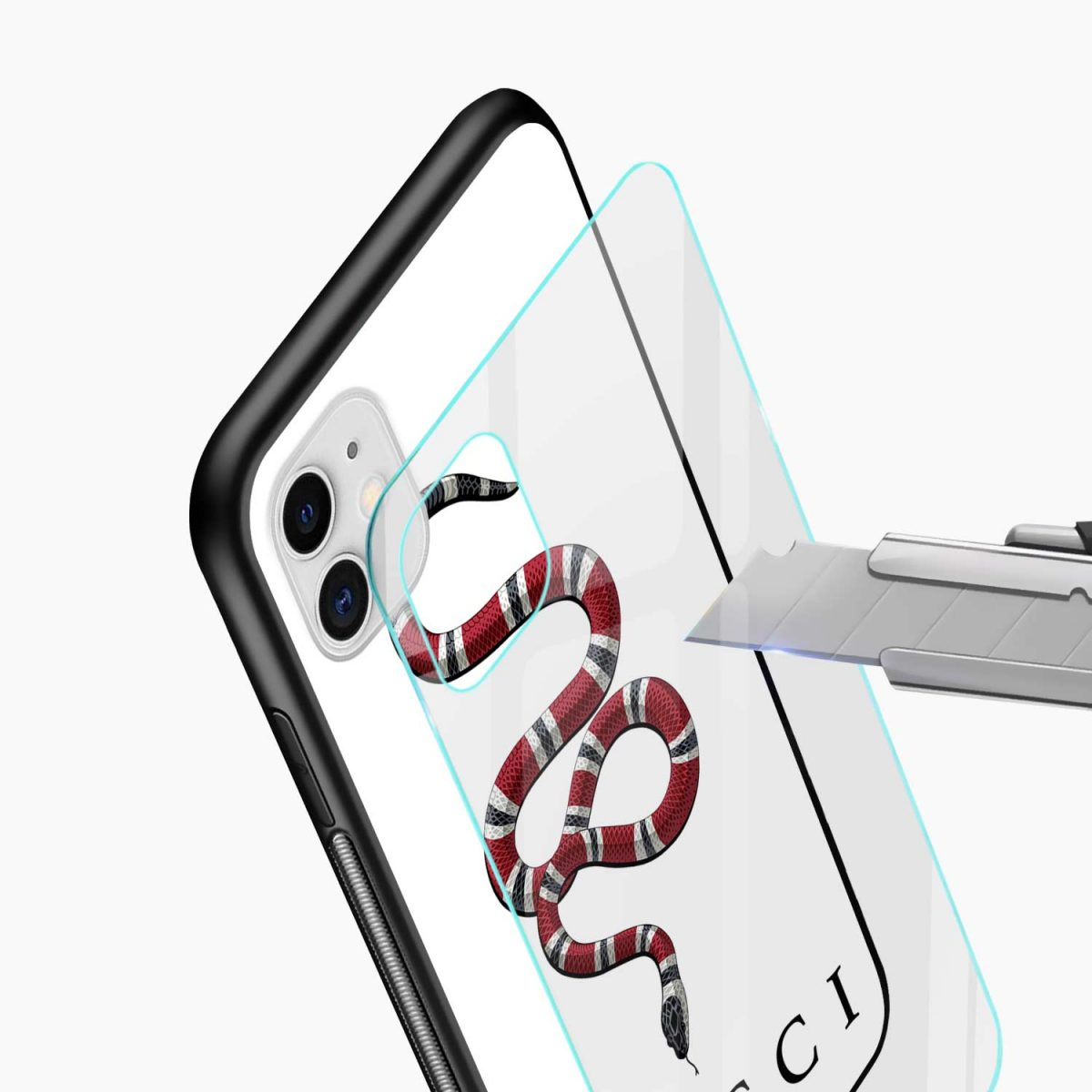 white gucci snake iphone back cover glass view