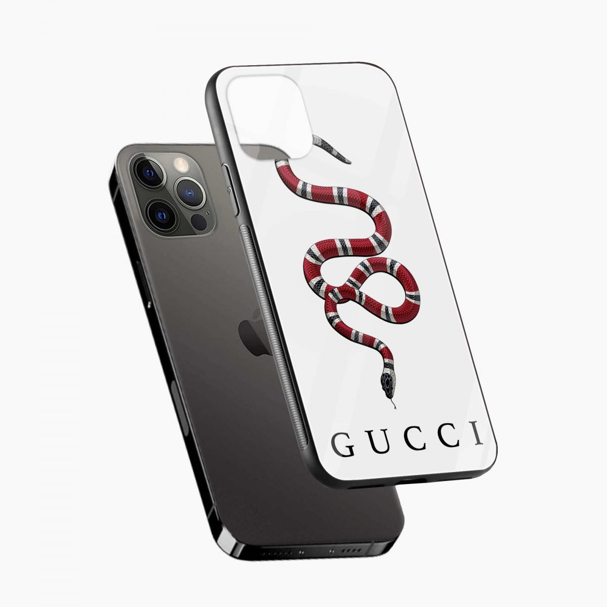 white gucci snake iphone pro back cover diagonal view