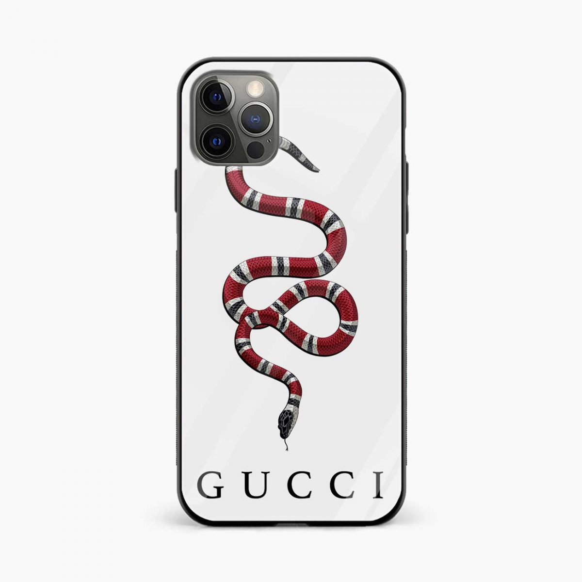 white gucci snake iphone pro back cover front view